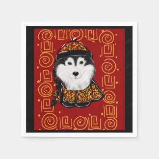 Guardanapo De Papel Ano do Malamute do Alasca do cão