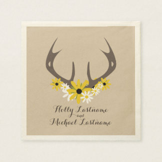 Guardanapo De Papel Antlers dos cervos + Wildflowers que Wedding