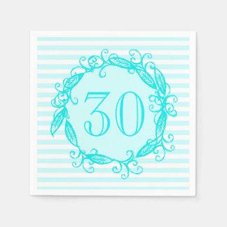 Guardanapo De Papel Aqua Swirly branco azul do aniversário de 30 anos