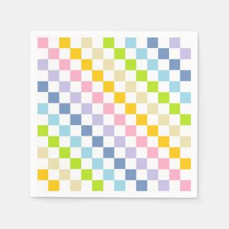 Guardanapo De Papel Arco-íris Pastel Checkered