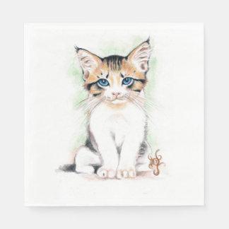 Guardanapo De Papel Arte bonito da aguarela do gato malhado