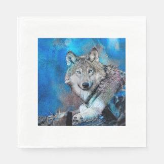 Guardanapo De Papel Arte da aguarela do lobo