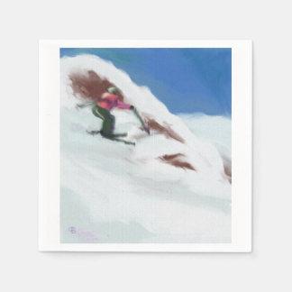 Guardanapo De Papel Arte da montanha da neve do esqui
