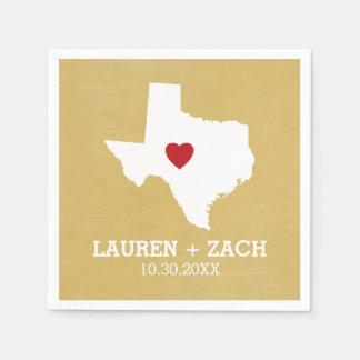 Guardanapo De Papel Arte do mapa do estado de origem - Texas Wedding
