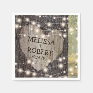 Guardanapo De Papel Árvore cinzelada do coração que Wedding luzes