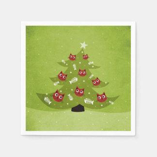 Guardanapo De Papel Árvore de Natal com os ornamento do gato e dos