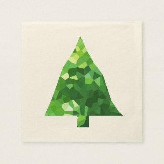 Guardanapo De Papel Árvore de Natal moderna do feriado do vitral