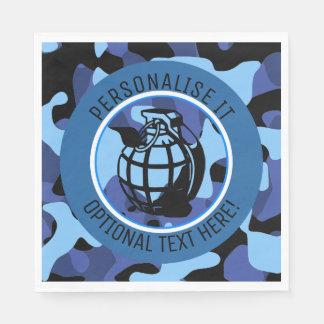 Guardanapo De Papel As forças armadas azuis camuflam com granada