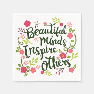 Guardanapo De Papel As mentes bonitas inspiram outro para citar o