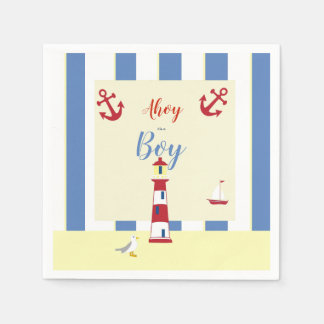 Guardanapo De Papel Azuis bebés e amarelo e vermelho náuticos