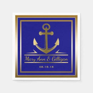 Guardanapo De Papel Azuis marinhos modernos náuticos do casamento da