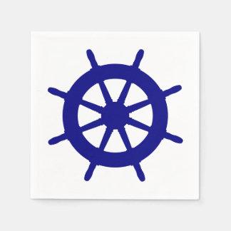 Guardanapo De Papel Azuis marinhos no leme litoral branco do navio