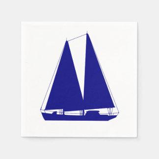 Guardanapo De Papel Azuis marinhos no veleiro litoral branco