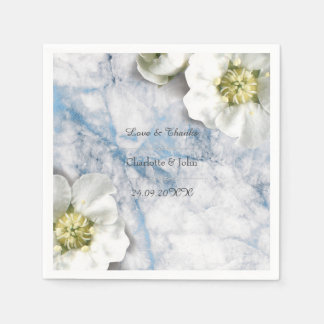 Guardanapo De Papel Azul de mármore floral personalizado real do