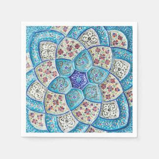 Guardanapo De Papel Azul de turquesa marroquino tradicional, branco,