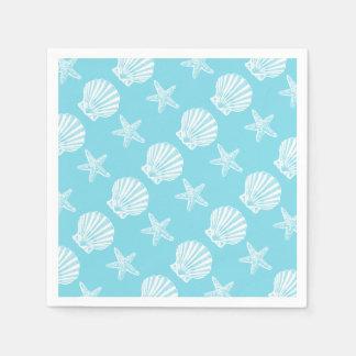 Guardanapo De Papel Azul do tema da praia do escudo da estrela do mar