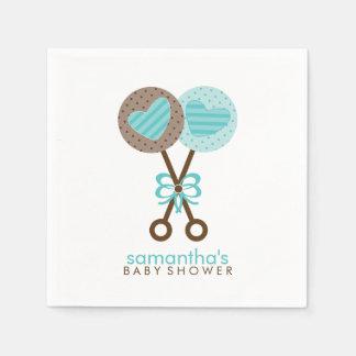 Guardanapo De Papel Azul e chocalhos do bebê de Brown