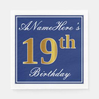 Guardanapo De Papel Azul elegante, aniversário do ouro do falso 19o;