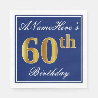 Guardanapo De Papel Azul elegante, aniversário do ouro do falso 60th;