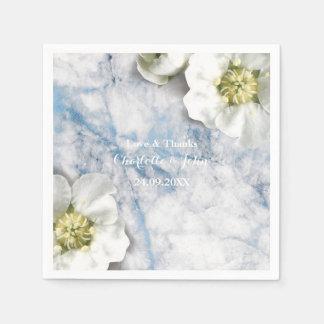 Guardanapo De Papel Azul floral personalizado mármore do branco