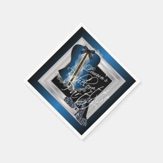 Guardanapo De Papel Azul glamoroso do chá de panela | da lingerie