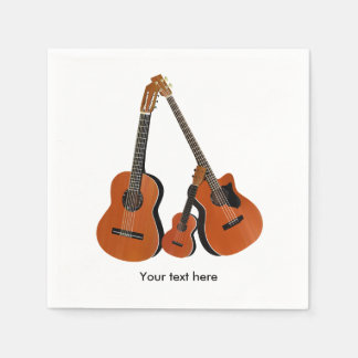 Guardanapo De Papel Baixo acústico e Ukulele da guitarra popular