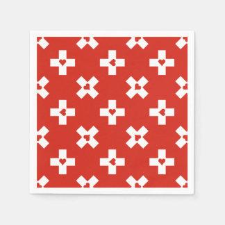 Guardanapo De Papel Bandeira da suiça com teste padrão do coração