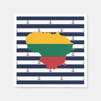 Guardanapo De Papel Bandeira/mapa de Lithuania em fundo listrado