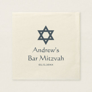 Guardanapo De Papel Bar azul escuro Mitzvah personalizado