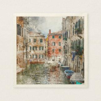 Guardanapo De Papel Barcos nos canais de Veneza Italia