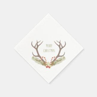 Guardanapo De Papel Bastões rústicos do Antler & de doces do Natal  