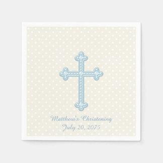 Guardanapo De Papel Batismo azul transversal elegante