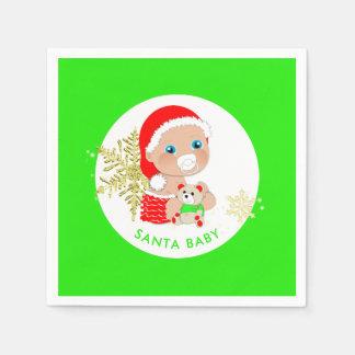 Guardanapo De Papel Bebê bonito do papai noel do Natal personalizado