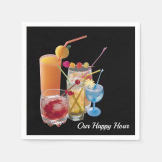 Guardanapo De Papel Bebidas do cocktail do happy hour