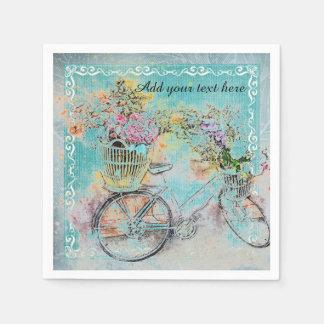 Guardanapo De Papel Bicicleta com as cestas da flor na serapilheira