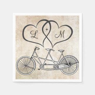 Guardanapo De Papel Bicicleta para dois corações que Wedding o