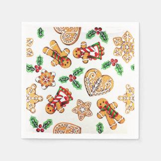 Guardanapo De Papel Biscoitos e azevinho coloridos do pão-de-espécie