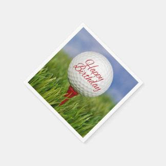 Guardanapo De Papel bola de golfe do aniversário no T vermelho