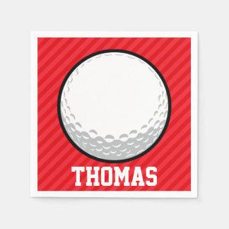 Guardanapo De Papel Bola de golfe; Escarlate das listras do vermelho