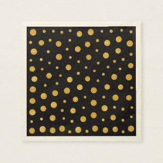 Guardanapo De Papel Bolinhas elegantes - ouro preto