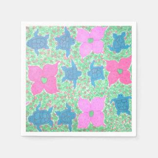 Guardanapo de papel bonito de tartaruga e de flor