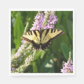 Guardanapo De Papel Borboleta de Swallowtail em Wildflowers roxos
