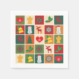 Guardanapo De Papel Branco colorido da colagem do Natal