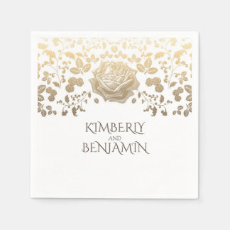 Guardanapo De Papel Branco e casamento elegante da folha do ouro
