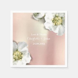 Guardanapo De Papel Branco floral metálico do ouro cor-de-rosa