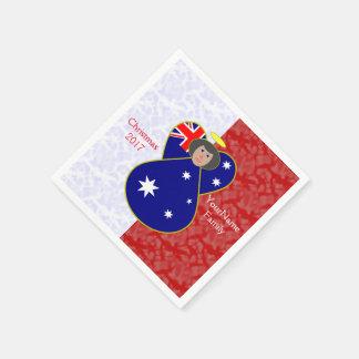 Guardanapo De Papel Branco vermelho australiano do cabelo preto da