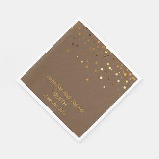 Guardanapo De Papel Brilho Wedding personalizado do ouro dos confetes