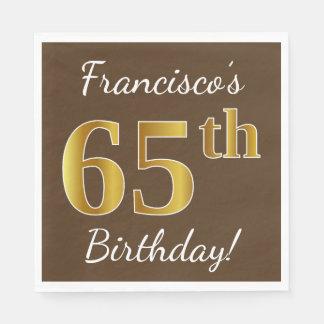 Guardanapo De Papel Brown, aniversário do ouro do falso 65th + Nome