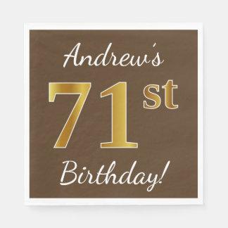 Guardanapo De Papel Brown, aniversário do ouro do falso 71st + Nome