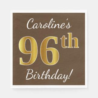 Guardanapo De Papel Brown, aniversário do ouro do falso 96th + Nome